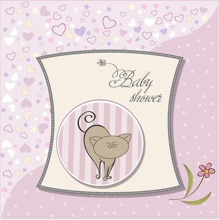 baby announcement card with cat Stock Vector - 12786080