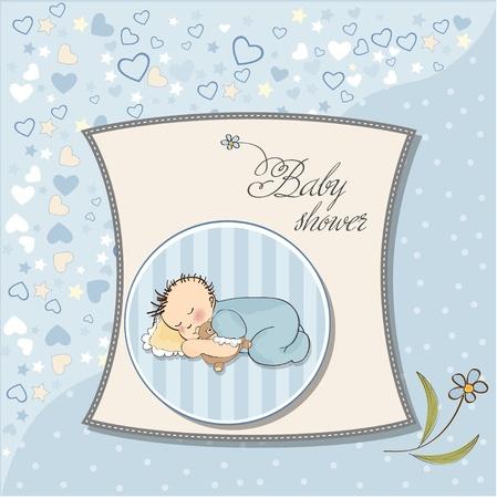 little baby boy sleep with his teddy bear toy  Illustration
