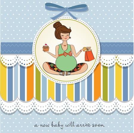 toy shop: Beautiful pregnant woman