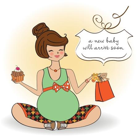 awaiting: Hermosa mujer embarazada Vectores