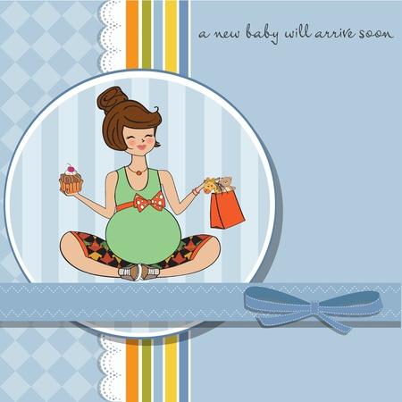 woman eat: Hermosa mujer embarazada Vectores