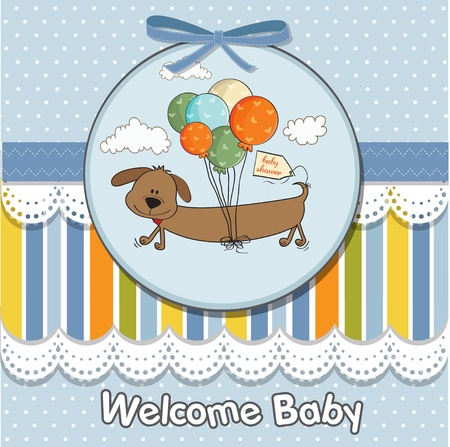 long play: baby shower card with long dog and balloons