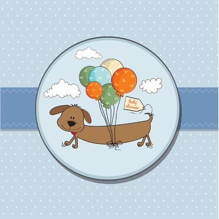 funny birthday: baby shower card with long dog and balloons