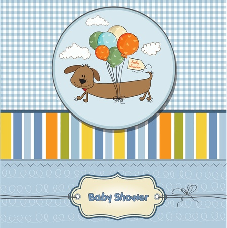 funny boy: baby shower card with long dog and balloons