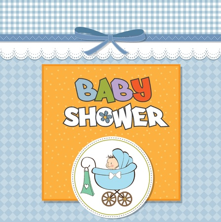 birth announcement: baby boy announcement card with baby and pram