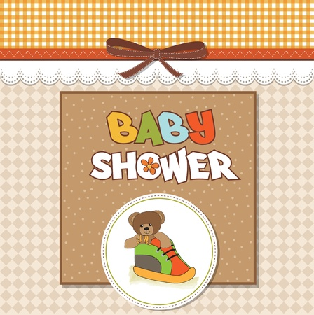 shower card with teddy bear hidden in a shoe  Vector