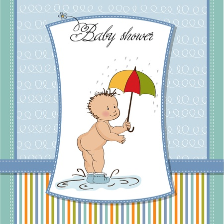 nude baby: baby showing his butt  baby shower card  Illustration