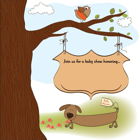 happy birthday girl: baby shower announcement card Illustration