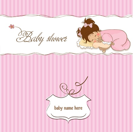 little baby girl play with her teddy bear toy  new baby announcement card  Vector