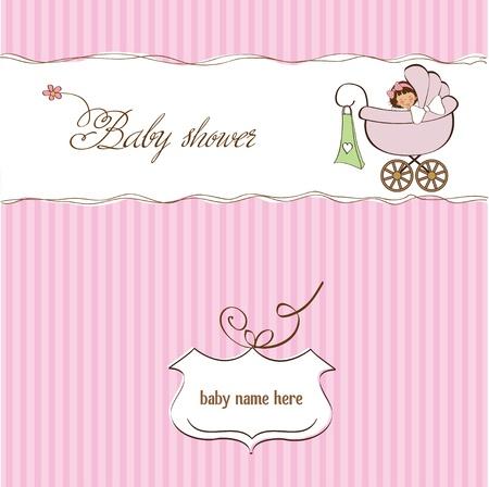 nacimiento: aviso de la ni�a tarjetas Vectores