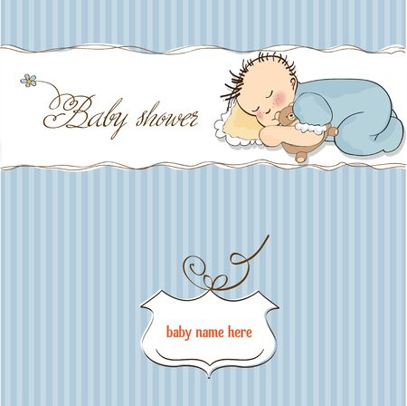 little baby boy sleep with his teddy bear toy  Vector