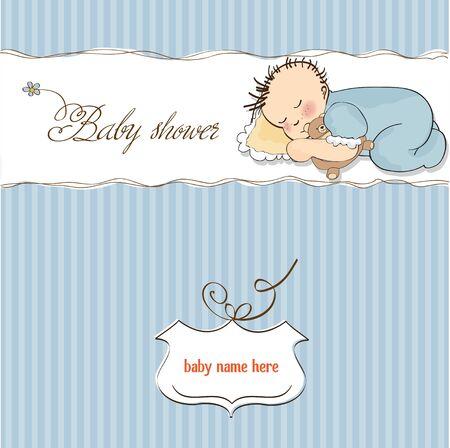 little baby boy sleep with his teddy bear toy Stock Vector - 12786051