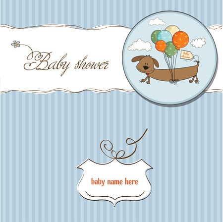 happy birthday girl: baby shower card with long dog and balloons