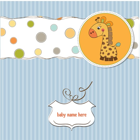happy birthday baby: chico nuevo aviso del beb� tarjeta con la jirafa Vectores