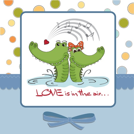 Crocodiles in love Valentine s day card Vector