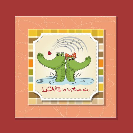 cartoon wedding couple: Crocodiles in love Valentine s day card Illustration