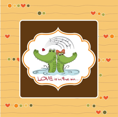 Crocodiles in love Valentine s day card Stock Vector - 12786078