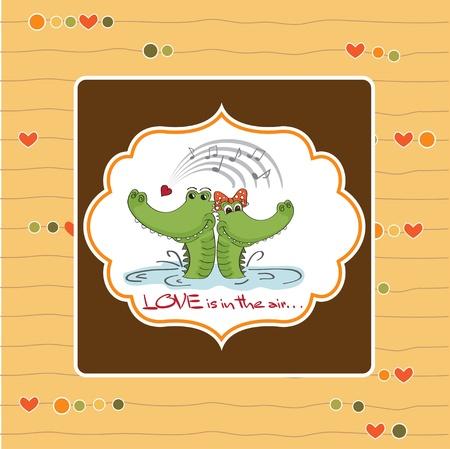 Crocodiles in love Valentine s day card Stock Vector - 12786078