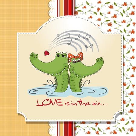 Crocodiles in love Valentine s day card Vector