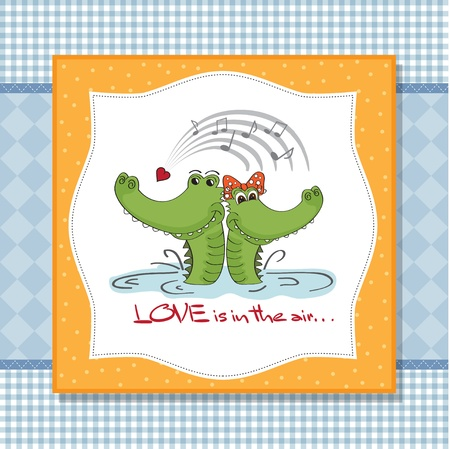 Crocodiles in love Valentine s day card Illustration
