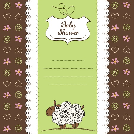 sheep love: cute baby shower card with sheep  Illustration