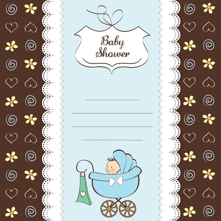 baby boy shower card with baby and pram  Vector