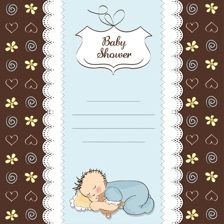 baby boy shower card with little baby  Vector