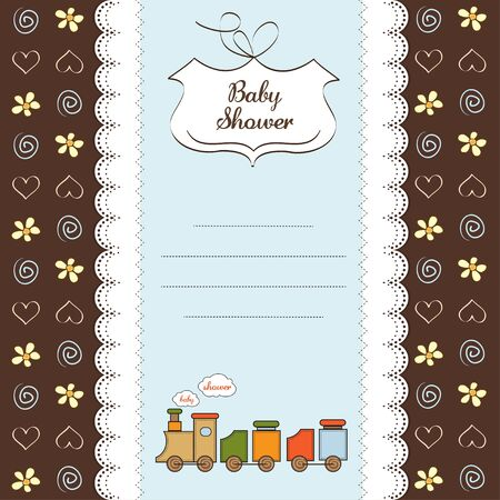 toy train: baby shower card with toy train