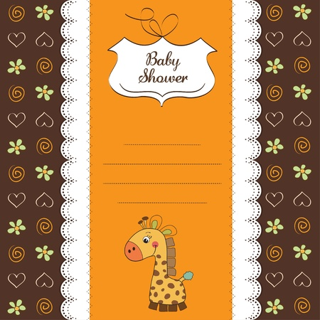 baby shower card with giraffe toy  Vector