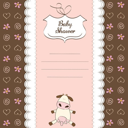 new baby girl shower card with cow