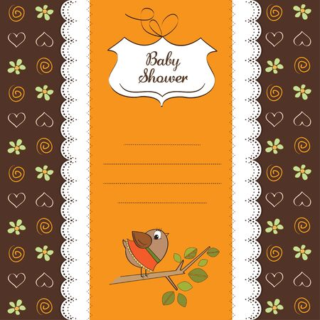 happy birthday girl: baby shower card with funny bird Illustration