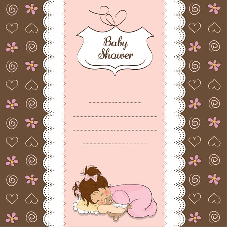 new baby girl shower card with little girl  Stock Vector - 12786248