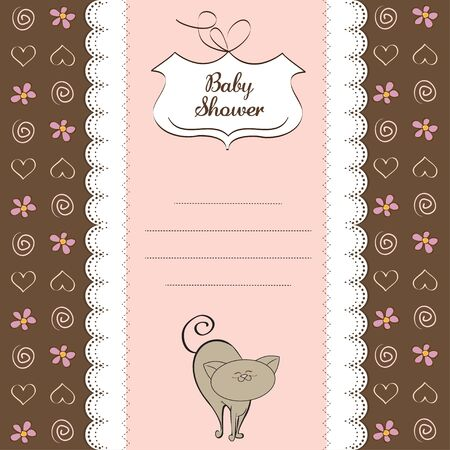 new baby girl shower card with cat  Vector