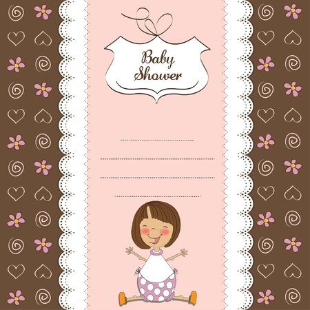 new baby girl shower card with girl  Illustration