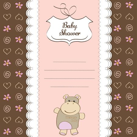 new baby girl shower card with hippo toy  Vector