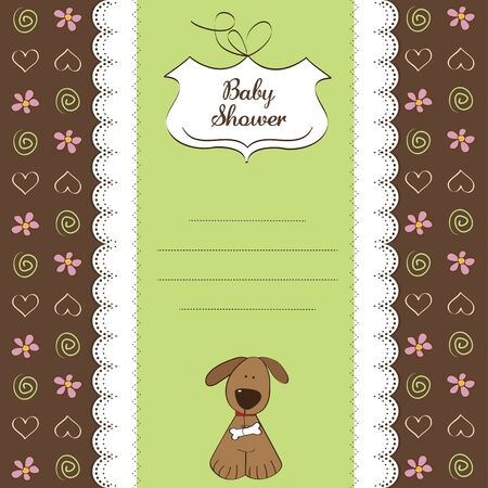 nestling: romantic baby shower card with dog  Illustration