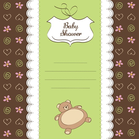 romantic baby shower card with teddy bear