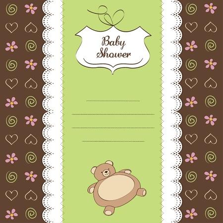 playfulness: romantic baby shower card with teddy bear