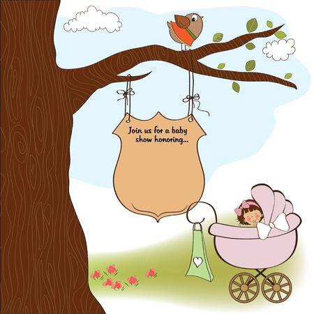 innocent girl: baby shower announcement card