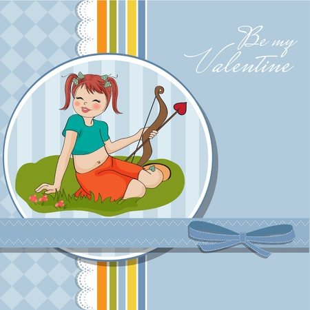 fairytale character: young pretty girl with cupid bow  valentine s day card