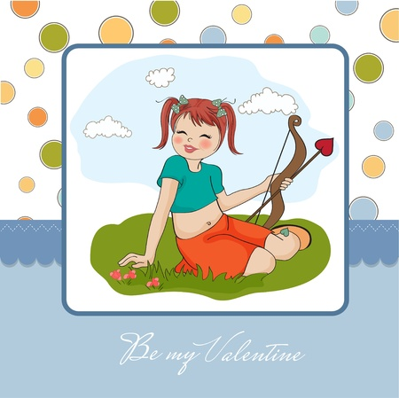 love target: young pretty girl with cupid bow  valentine s day card