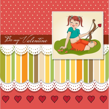 girls with bows: young pretty girl with cupid bow  valentine s day card