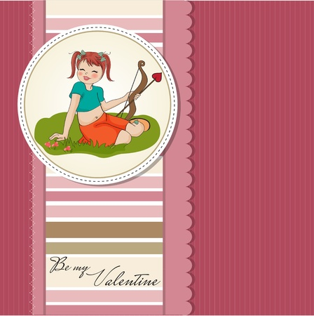 young pretty girl with cupid bow  valentine s day card  Vector