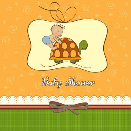 birthday greetings: funny baby boy shower card  Illustration