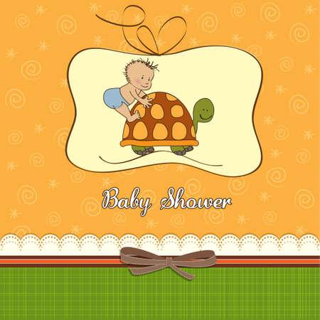felicitaciones cumpleaÑos: Funny Boy Baby Shower tarjetas Vectores
