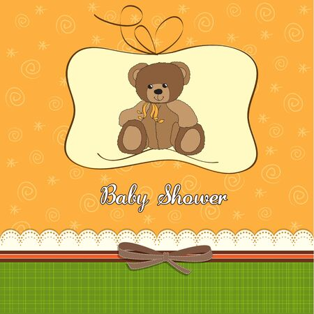 baby shower card with teddy  bear Stock Vector - 12786275