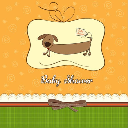 specifically: funny baby shower card with long dog