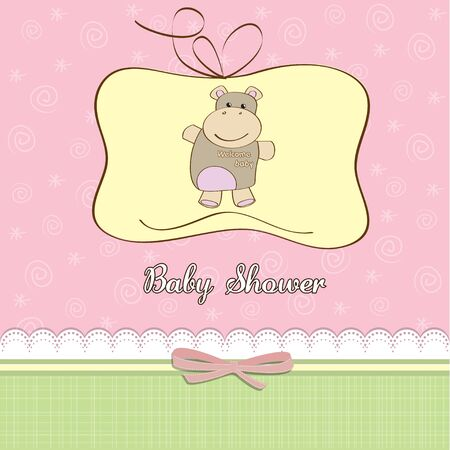 childish baby girl shower card with hippo toy Stock Vector - 12786206