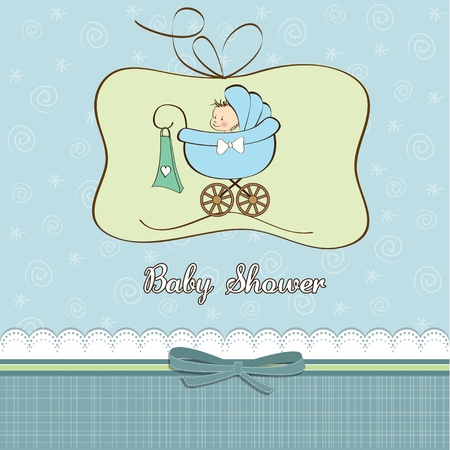 pram: baby boy announcement card with baby and pram