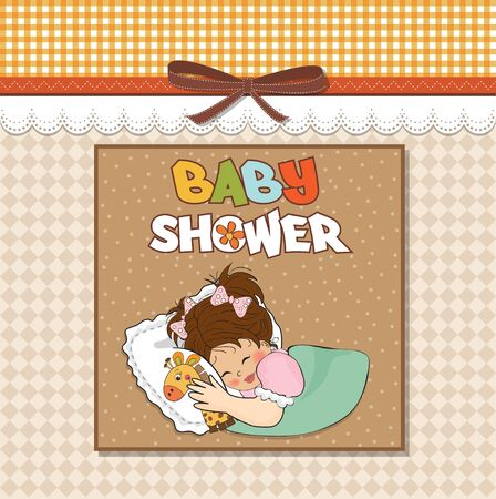 specifically: baby shower card with little girl and her toy